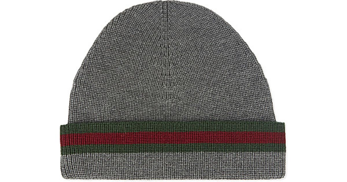 f720ebeff1ccf Gucci Wool Silk Beanie in Gray for Men - Lyst