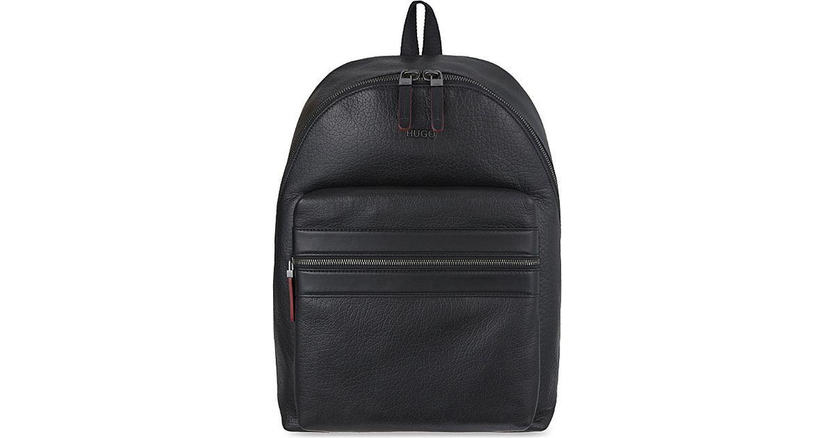d42b74ea5933 BOSS Plain Leather Backpack - For Men in Black for Men - Lyst