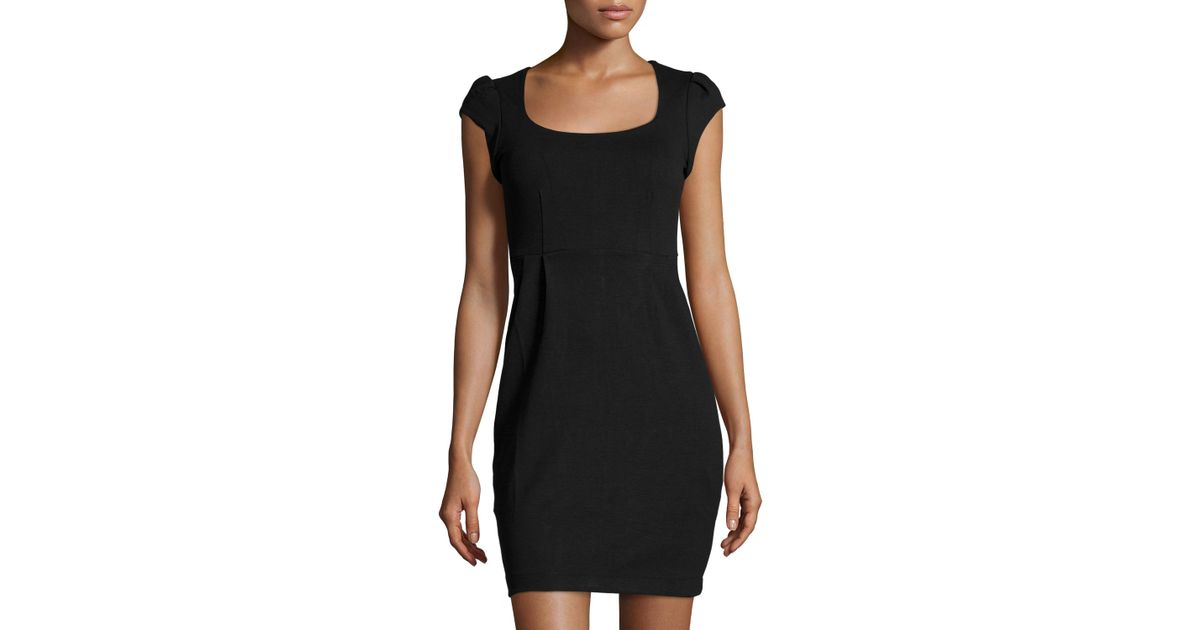 Lyst French Connection Manhattan Cap Sleeve Jersey Dress In Black