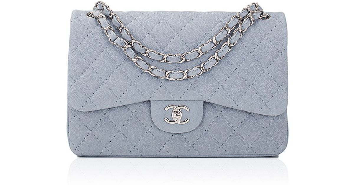 264303dea321 Lyst - Madison Avenue Couture Chanel Pastel Blue Iridescent Quilted Matte  Caviar Jumbo Classic Bag in Blue