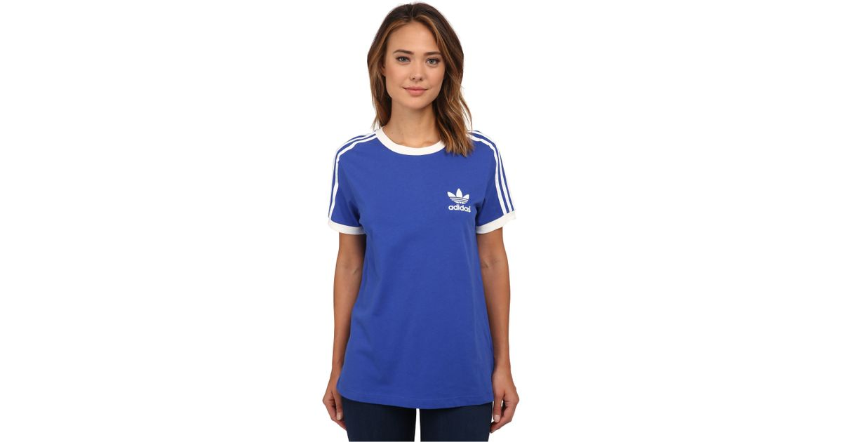 43a651a0324 adidas Originals 3-stripes Tee in Blue - Lyst