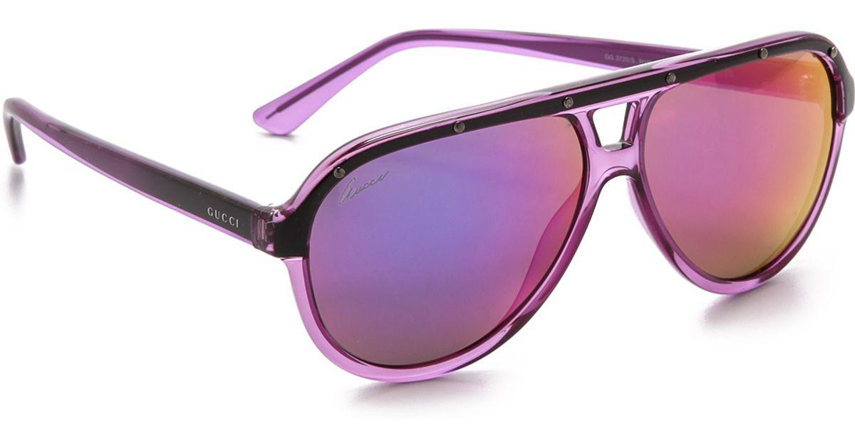 02e4fd24ba Gucci Aviator Sunglasses - Violet Black pink in Purple - Lyst