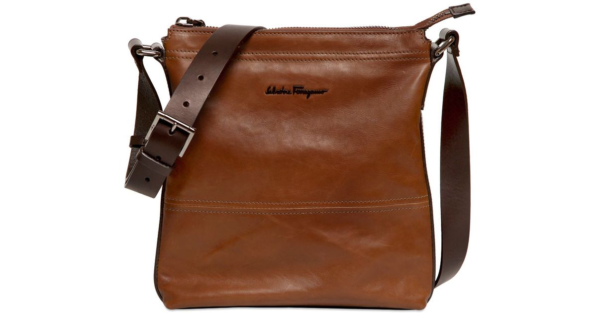 Ferragamo Brown Washed Calf Leather Crossbody Bag For Men