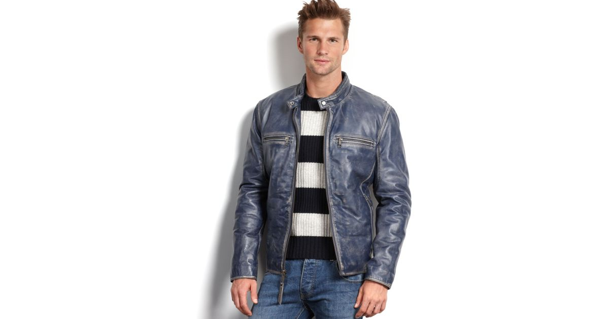 e82080d94 Marc New York Blue Ryder Distressed Calf Leather Moto Jacket for men