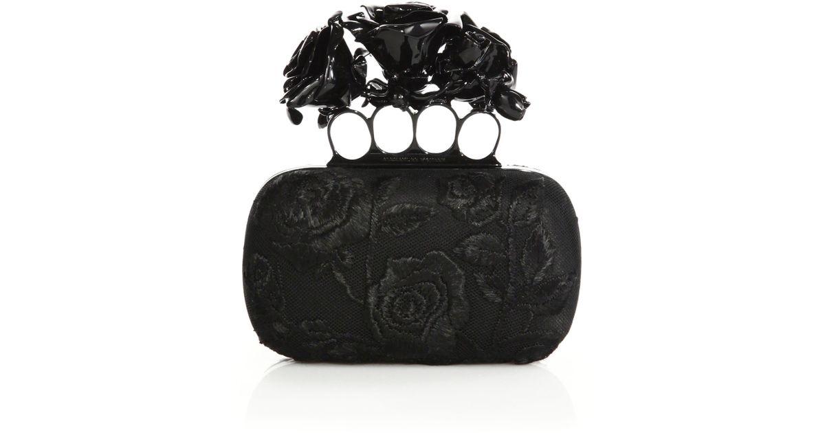 7b3799a65e253 Alexander McQueen Rose-embroidered Silk Knuckle Box Clutch in Black - Lyst