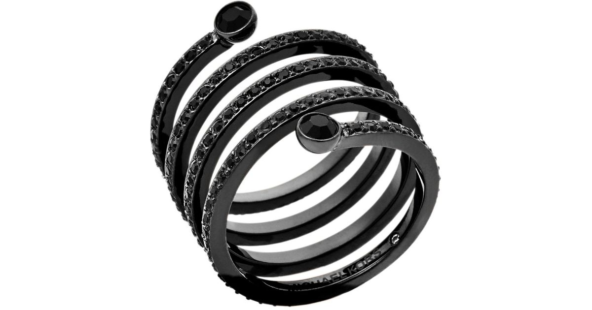 580531a25542 Lyst - Michael Kors Pavé Black-tone Coil Ring in Metallic