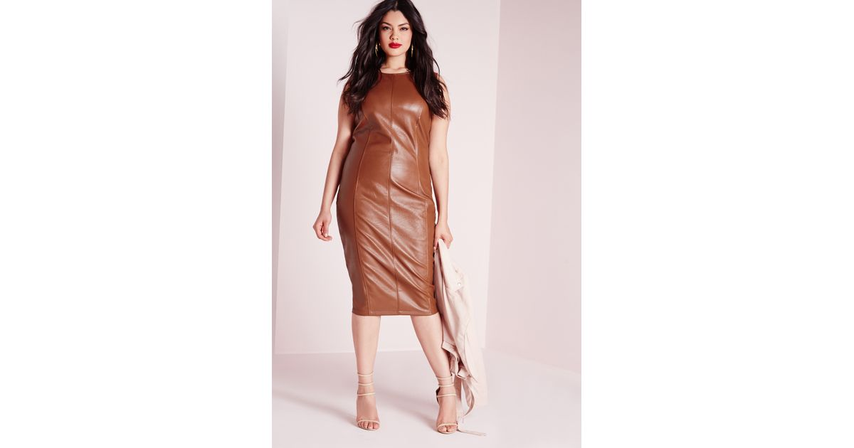 Lyst Missguided Plus Size Leather Zip Back Midi Dress Tan In Brown