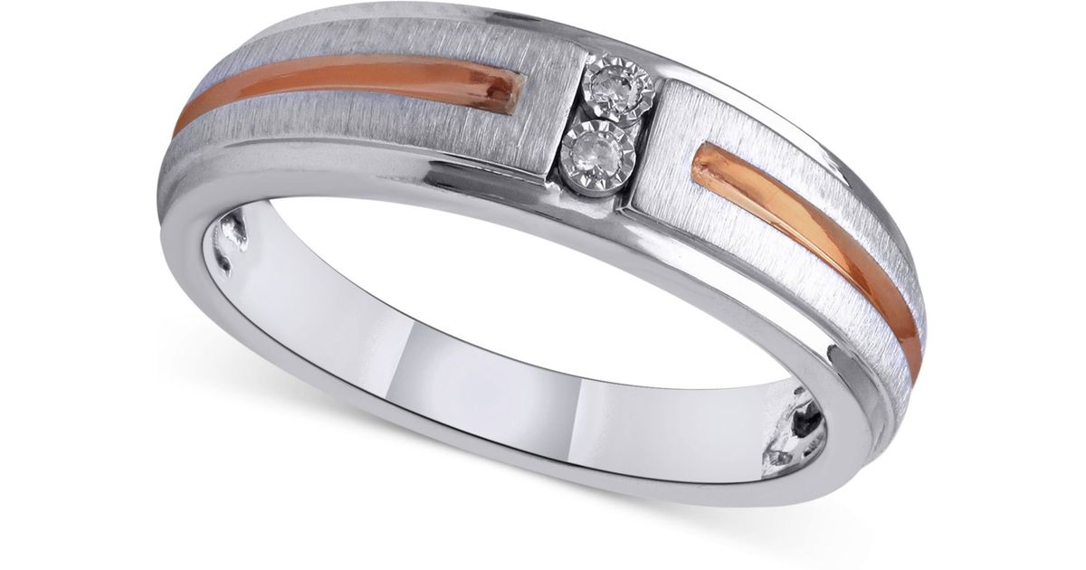 Macy S Diamond Accent Men S Wedding Band In Sterling Silver And 14k Rose Gold In White Gold Metallic For Men Lyst