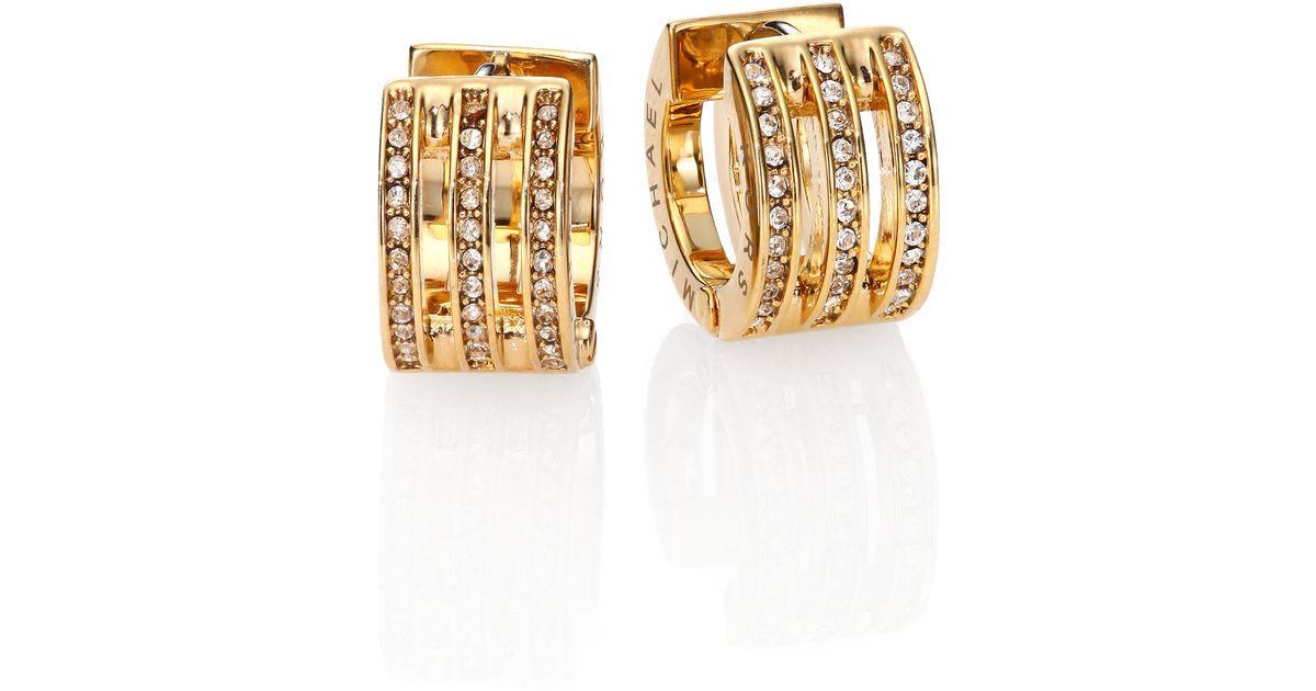 d323e65c0a5458 Michael Kors Motif Pave Bar Goldtone Huggie Hoop Earrings/0.35 in Metallic  - Lyst