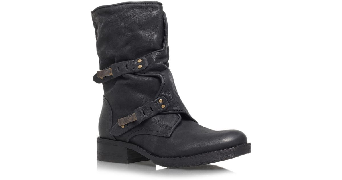 Sam Edelman Black Ridge Dual Buckle Leather Biker Boots