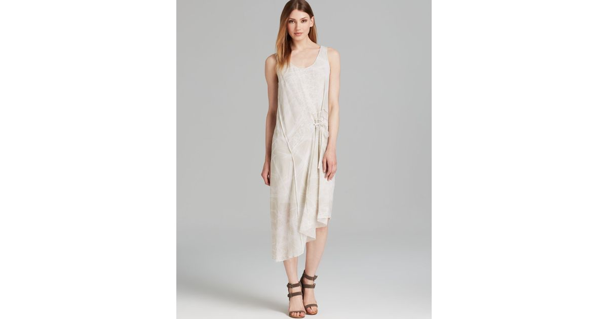 Lyst - Dkny Pure Linea Silk Print Sleeveless Scoop Neck Dress in Natural