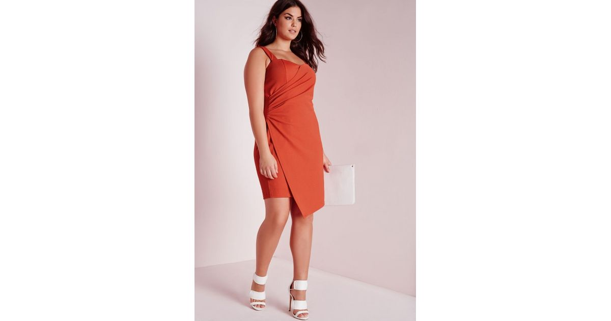 Lyst - Missguided Plus Size Plunge Dress Orange in Orange