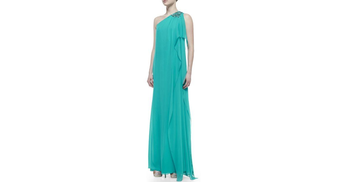 Lyst - Badgley Mischka Beaded Oneshoulder Caftan Gown Turquoise in Green