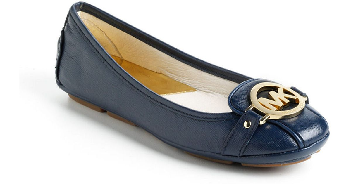 Kors Blue Leather Michael Textured Fulton Flats DIeWE2H9Y