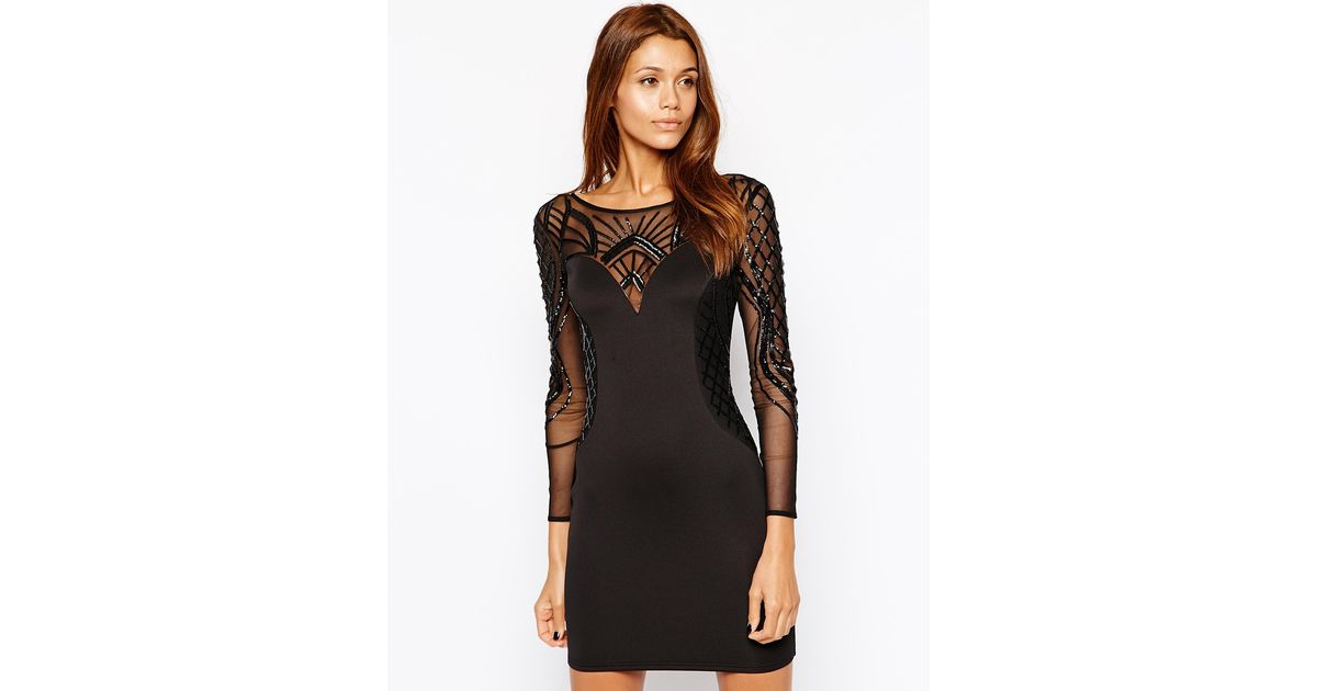 8e9c9c6eed8 Lipsy Michelle Keegan Loves Embellished Bodycon Dress With Mesh Long Sleeves  in Black - Lyst