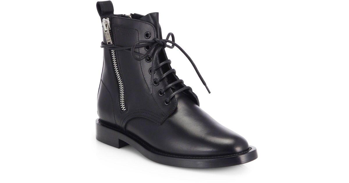 6d05f17c447 Saint Laurent Rangers Leather Lace-Up Combat Boots in Black - Lyst