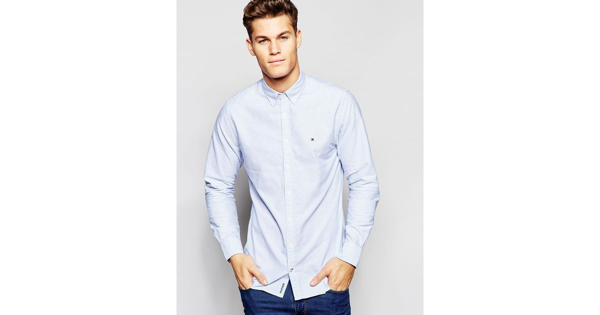 d2a89a865b0 Lyst - Tommy Hilfiger Oxford Shirt With Fine Stripe New York Regular Fit in  Blue for Men