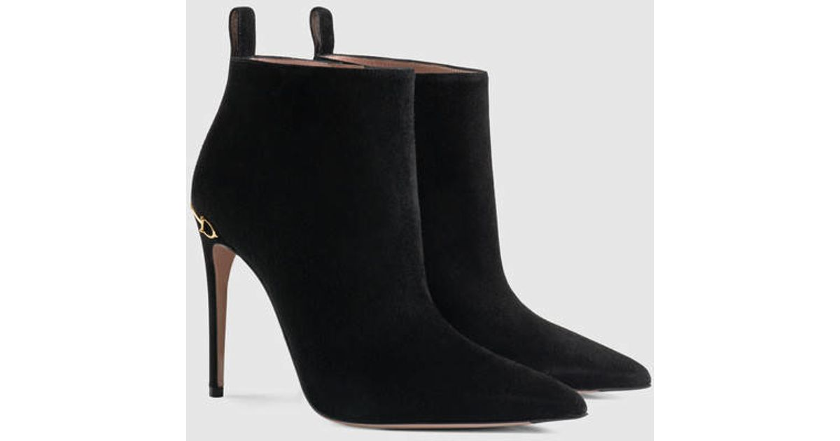 8a99a089ae Gucci Adina Suede Ankle Boot in Black - Lyst