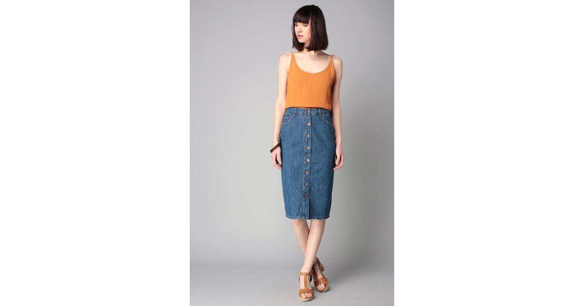 vero moda midi skirt maxi skirt in blue lyst