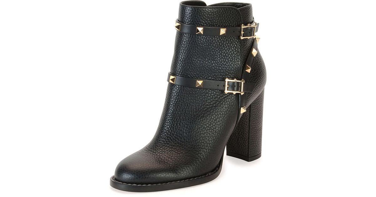 99c1edf17572c Valentino Rockstud Leather 70mm Chunky-heel Bootie in Black - Lyst
