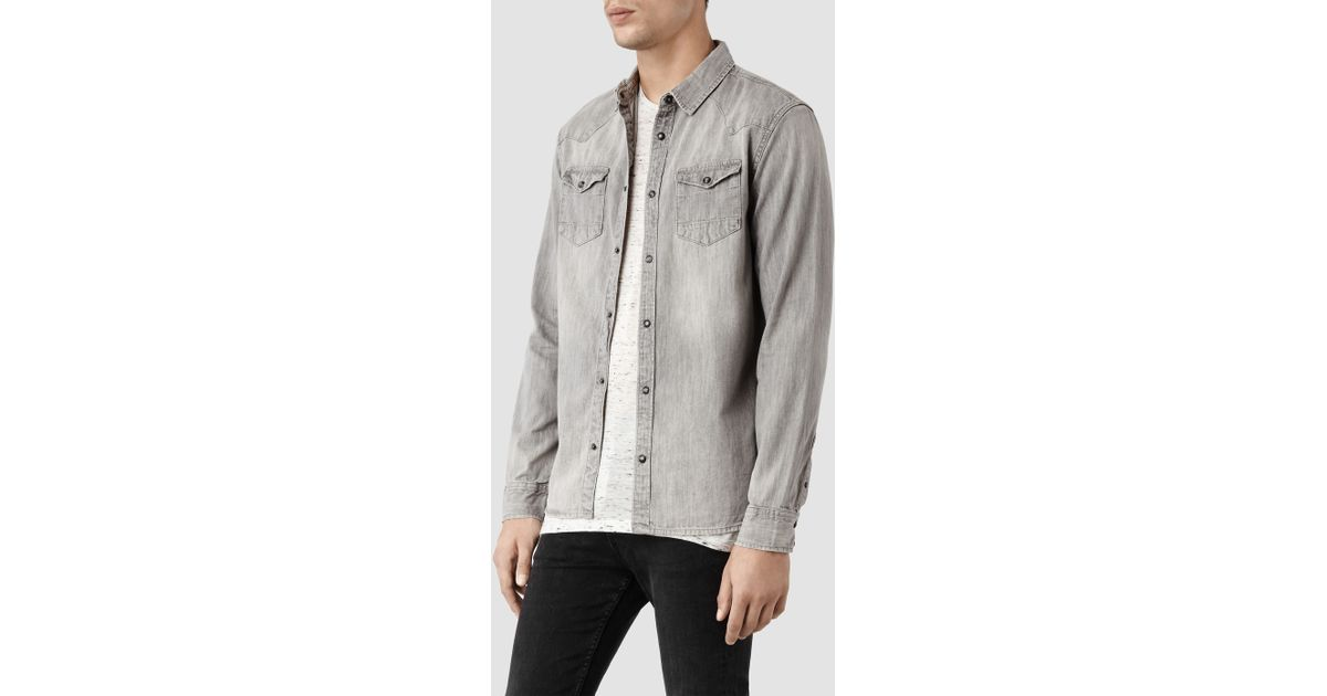 df777be988 AllSaints Cannon Ls Shirt in Gray for Men - Lyst