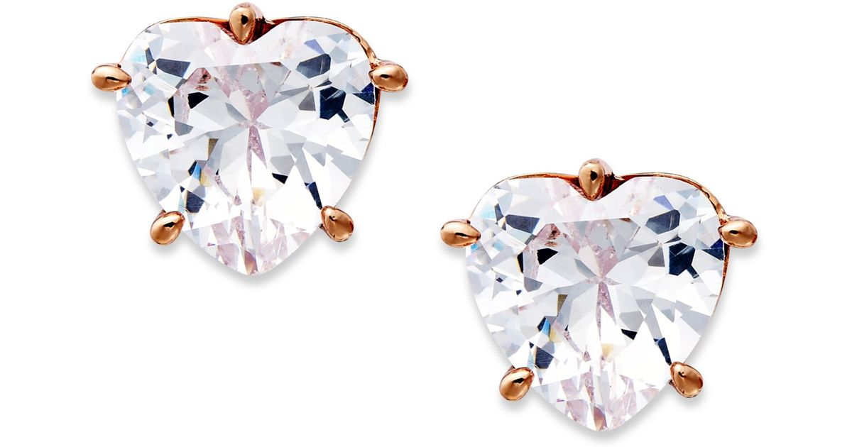 Lyst Juicy Couture Rose Gold Tone Cubic Zirconia Heart Stud Earrings In White