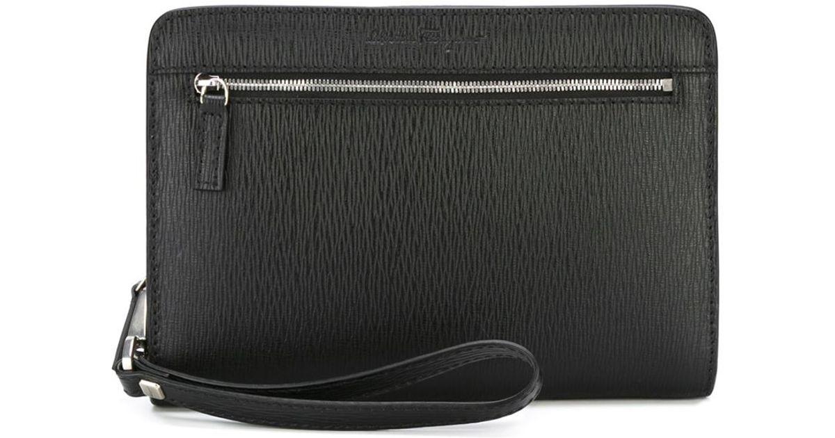 textured clutch bag - Black Salvatore Ferragamo unXv0D235