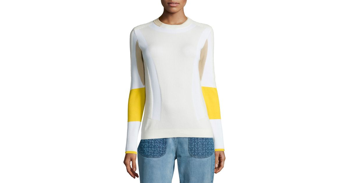 180fe6b5fb Lyst - Belstaff Colorblock Ribbed Moto Sweater in White
