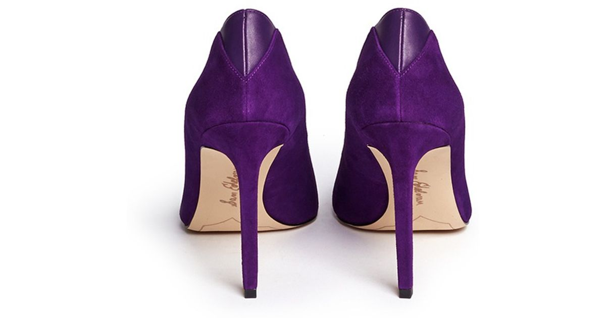 f622749431e Lyst - Sam Edelman  dea  Leather Trim Suede Pumps in Purple