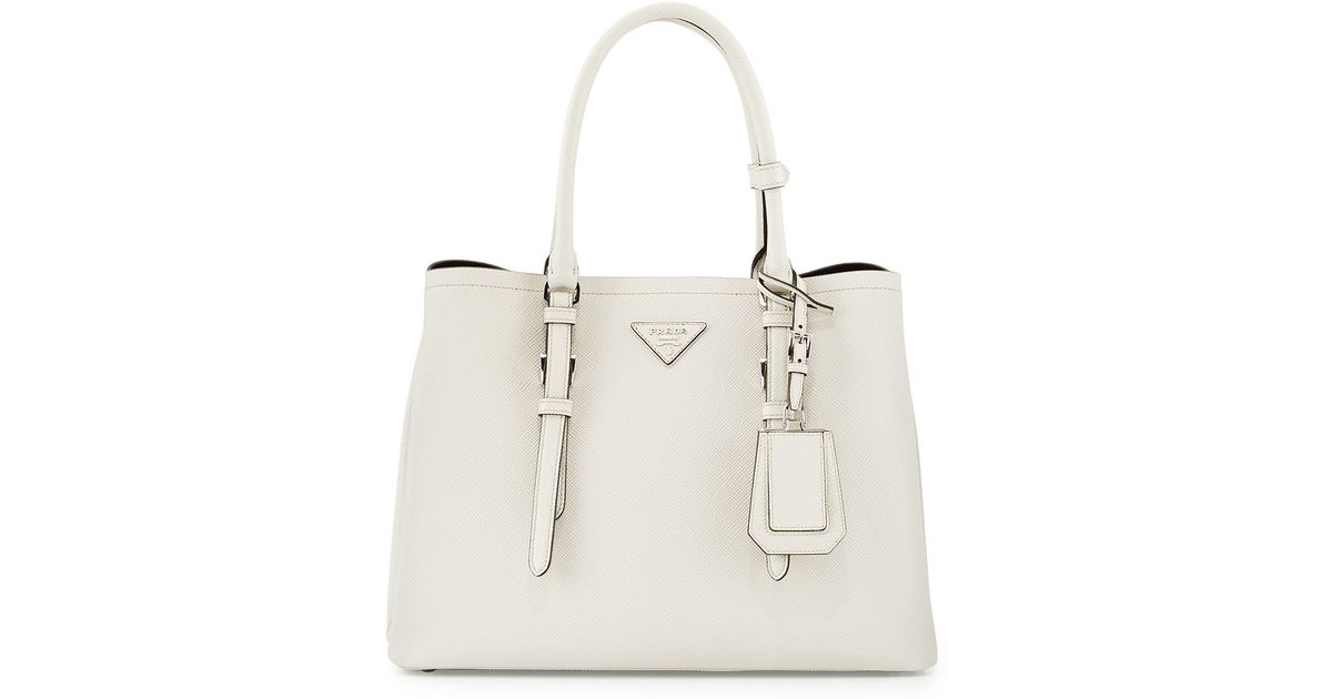 d0055b6ae933 Prada Saffiano Cuir Covered-Strap Double Bag in White - Lyst