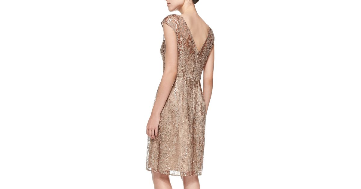 c8049412612 Lyst - Kay Unger Cap-sleeve Lace Overlay Cocktail Dress in Brown