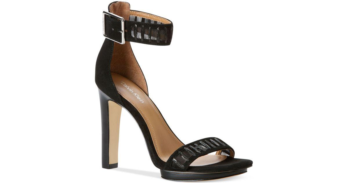 3a6aacb01a8a Lyst - Calvin Klein Valinda High Heel Sandals in Black