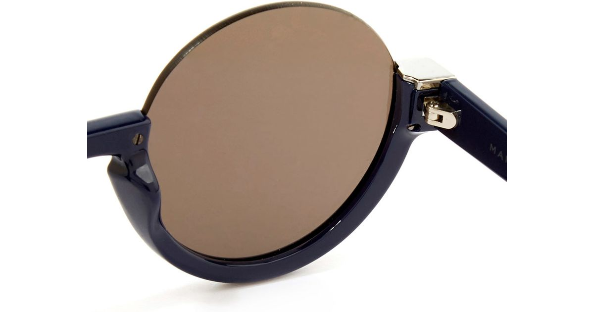 Marc By Marc Jacobs Round Frame Glasses : Marc by marc jacobs Blue Half Frame Sunglasses in Blue Lyst