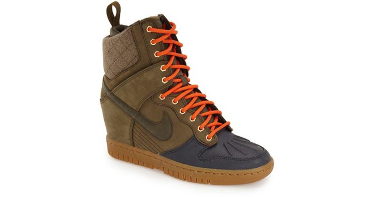 57f07063fe0 Lyst - Nike  dunk Sky Hi  Wedge Sneaker in Green