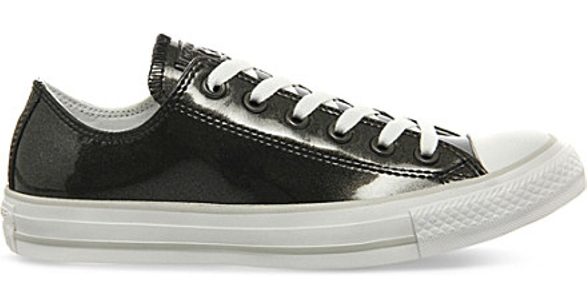 4fe664feedc1 Converse Allstar Low-top Shiny Leather Trainers in Black - Lyst