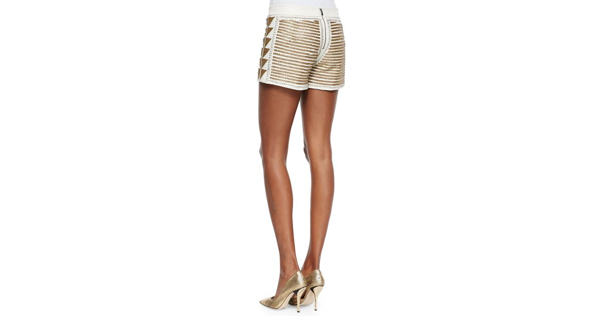 fea3d27027d0 Lyst - Alice + Olivia Beaded Back-zip Leather Shorts in Metallic