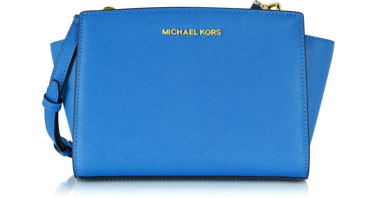 6d005286229f Michael Kors Selma Medium Saffiano Leather Messenger Bag in Blue - Lyst