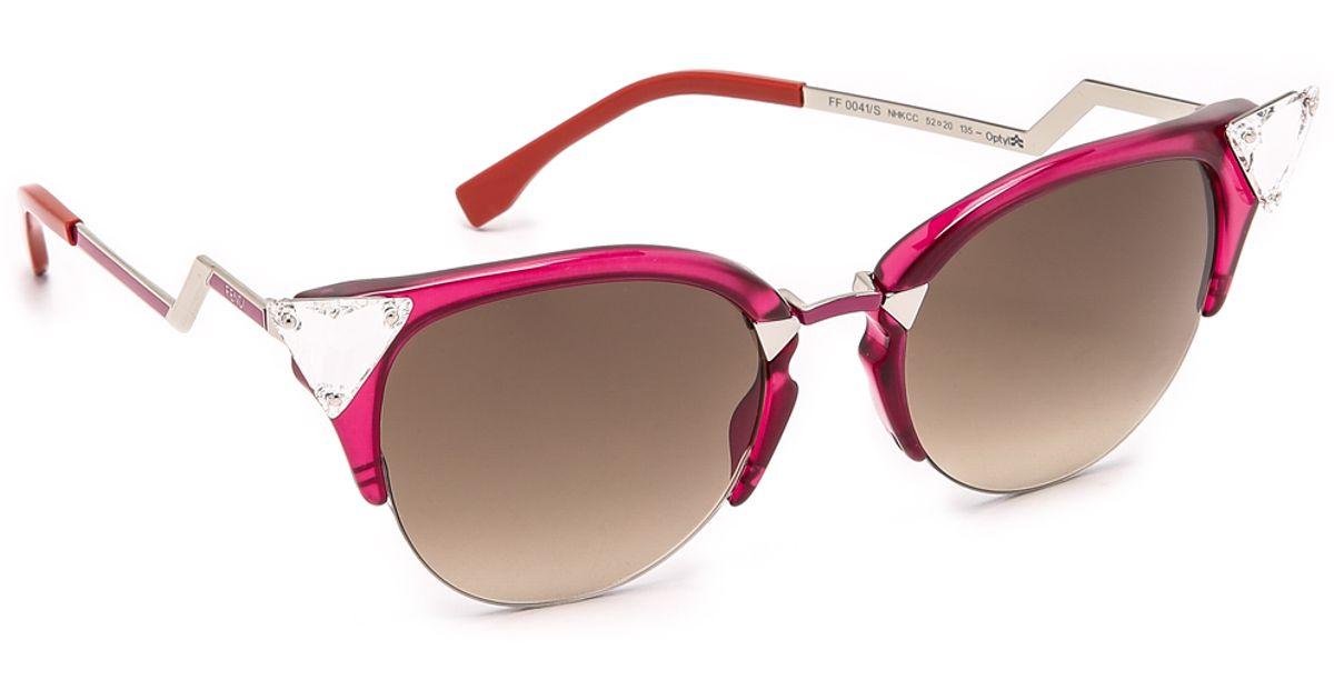 5027bd8ddedf Fendi Crystal Corner Sunglasses in Red - Lyst