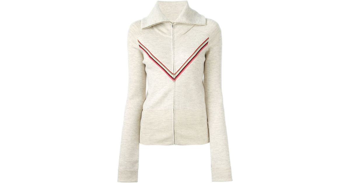 Cheap Newest Discount Footaction stripe detail zipped cardigan - Nude & Neutrals P.A.R.O.S.H. Cheap Real Finishline Browse For Sale Outlet Huge Surprise Nmacn9QQWQ