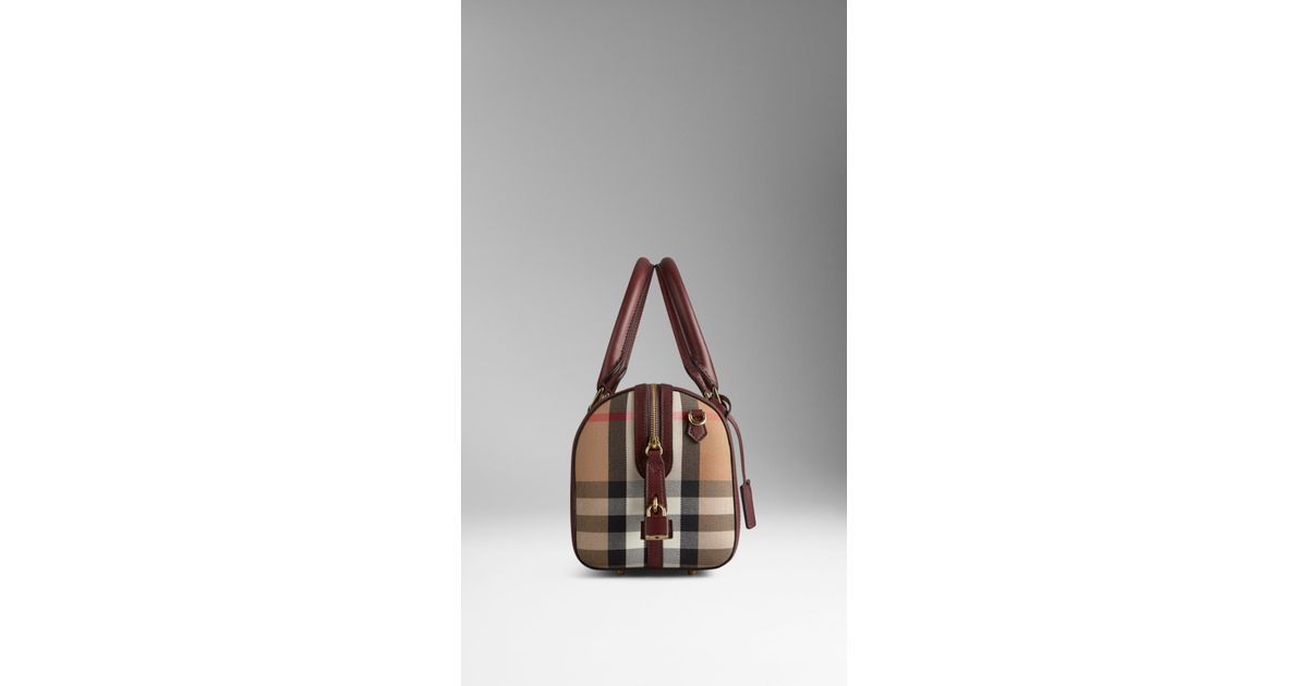 Burberry Medium Sartorial House Check Bowling Bag in Red - Lyst cc01706405628