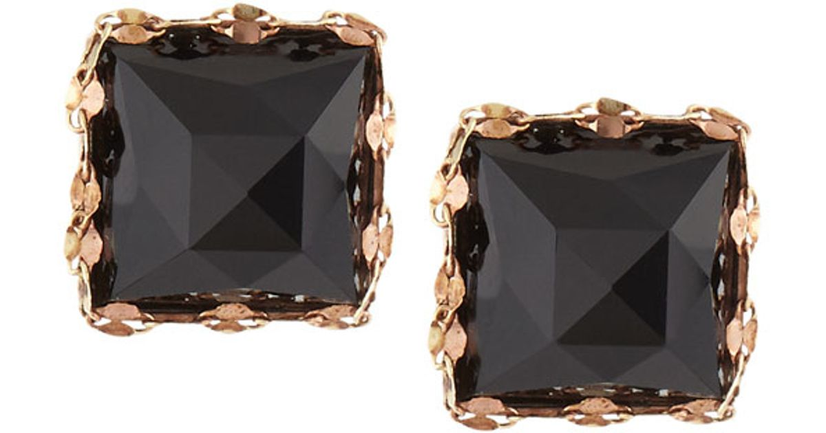 Lana jewelry 14k Rose Gold Black Onyx Stud Earrings in Metallic Lyst