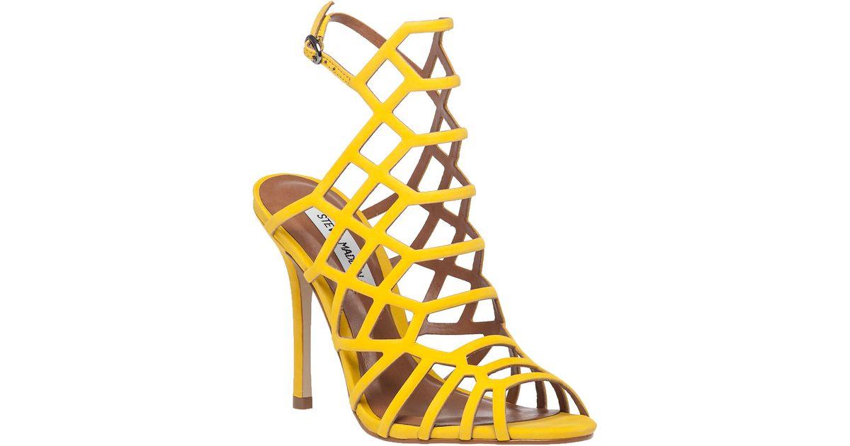 cee5b1b0efa Lyst - Steve Madden Slithur Yellow Suede Sandal in Yellow