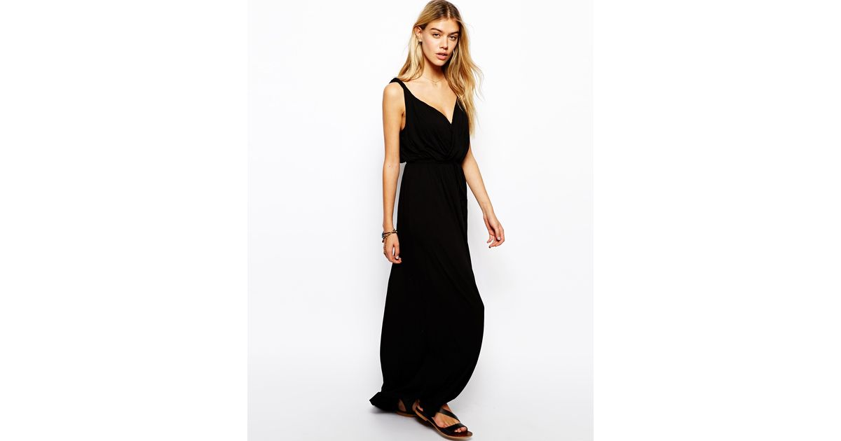 Lyst Asos Maxi Dress With Grecian Wrap In Black