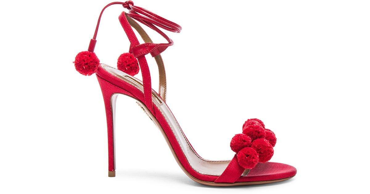 red aquazzura heels