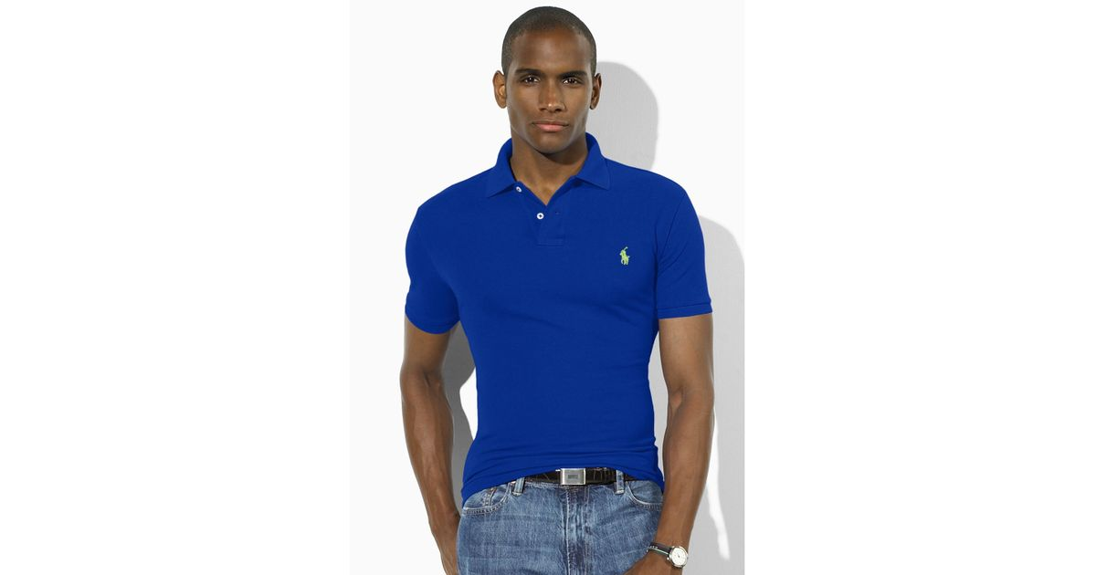 Men Ralph Shirt Polo Slim For Lauren Blue Fit bf6gy7