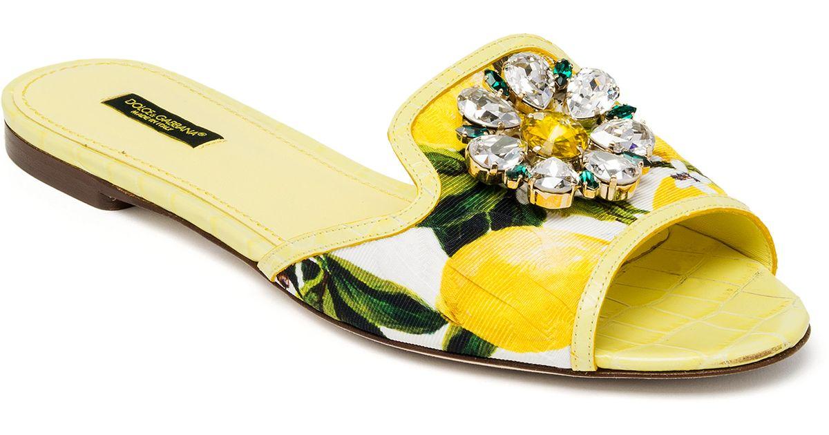 e942971585e6 Lyst - Dolce   Gabbana Jeweled Lemon Slide Sandals in Yellow