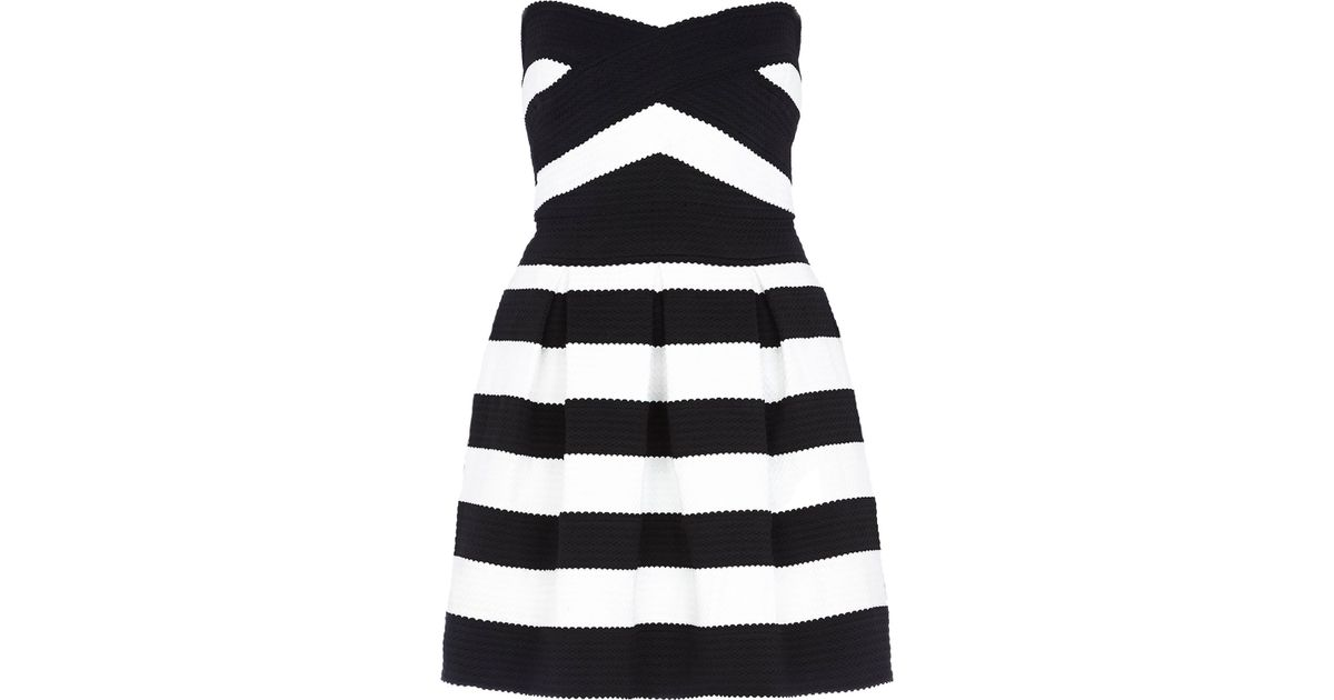 River Island Black And White Stripe Bandeau Prom Dress In Black Lyst