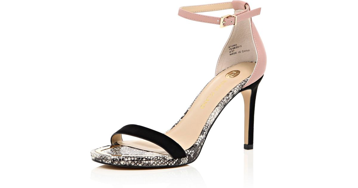 1fd6b733ed3 River Island Pink Snake Print Mid Heel Barely There Heels