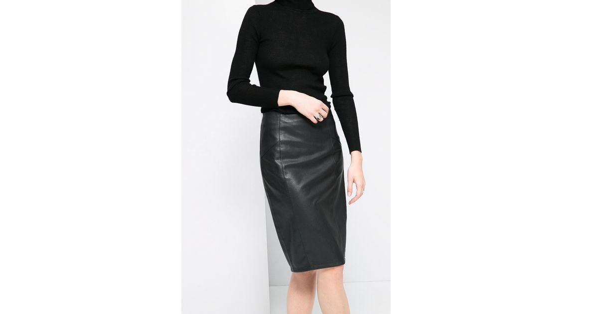 db68af27df0 Mango Faux Leather Pencil Skirt in Black - Lyst