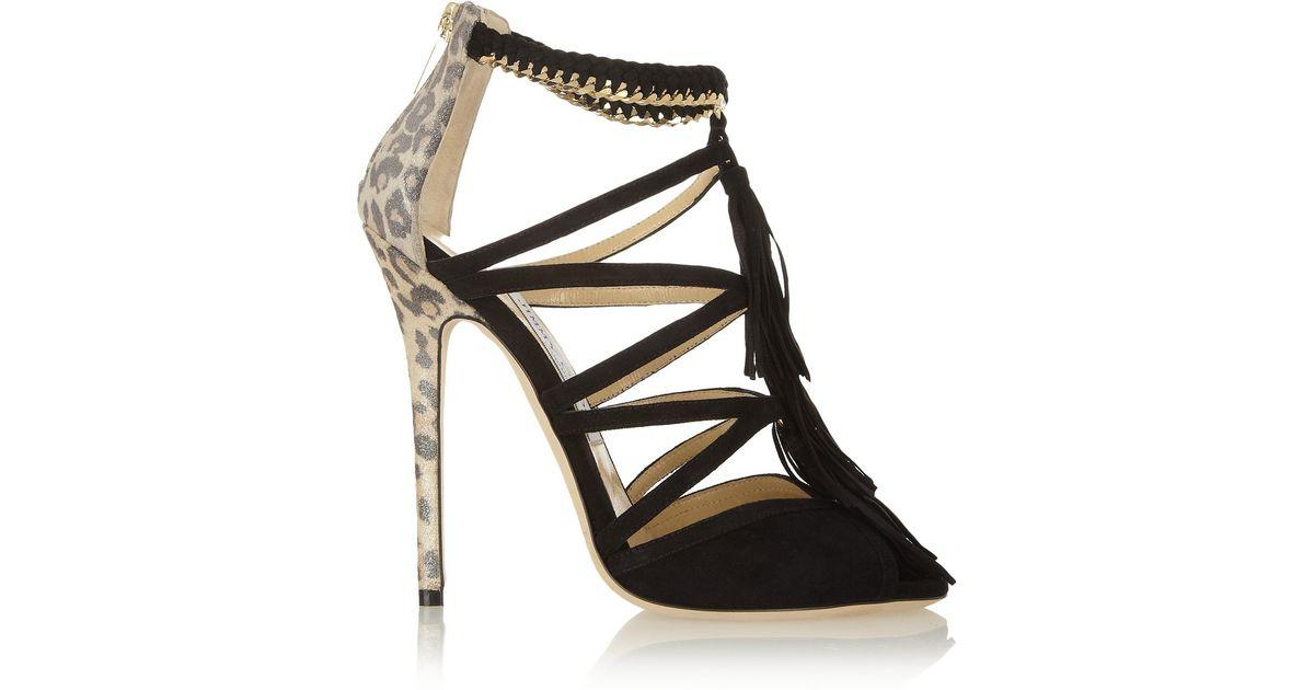 lyst jimmy choo flambe tasseled suede sandals in black rh lyst com